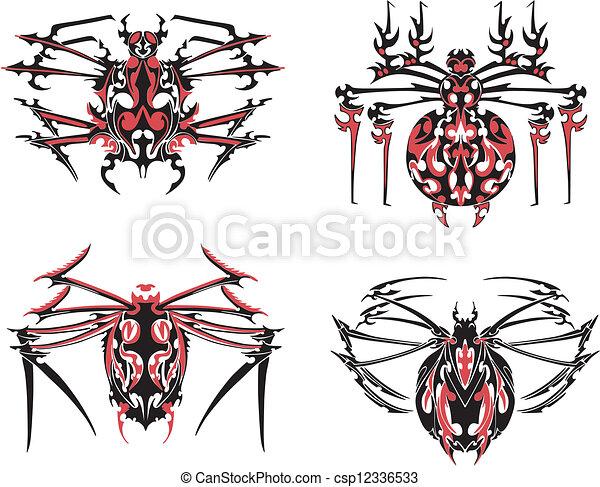 Simétrico Tatuajes Negro Araña Rojo Araña Ilustración