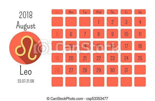Calendario Segni.Simboli Agosto Appartamento Oroscopo Zodiaco 2018 Segni Calendario Template Colorato