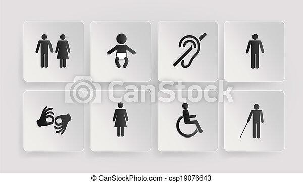 simboli, bambino, invalido, tolette - csp19076643