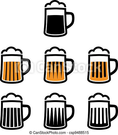 simboli, birra, vettore, tazza - csp9488515