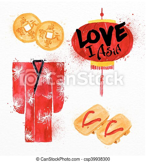 simboli, biscotti, fortuna, asia - csp39938300
