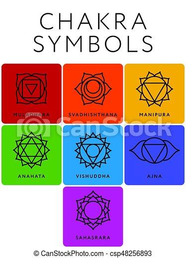 simboli, chakra, sette, set, nomi - csp48256893