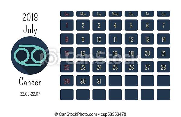Calendario Oroscopo.Simboli Colorato Appartamento Oroscopo Luglio 2018 Calendario Segni Zodiaco Template