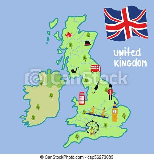 Cartina Fisica Regno Unito Da Stampare.Simboli Mappa Regno Unito Vettore Inghilterra Ponte Concetto Appartamento Simboli Cabina Londra Marching Unione Canstock