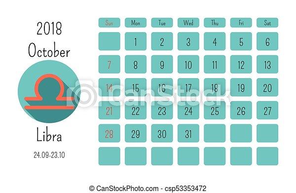 Calendario Oroscopo.Simboli Ottobre Colorato Appartamento Oroscopo Zodiaco 2018 Segni Calendario Template