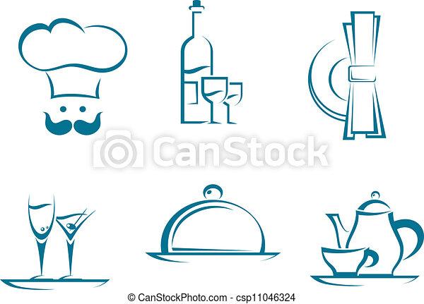 simboli, ristorante, icone - csp11046324