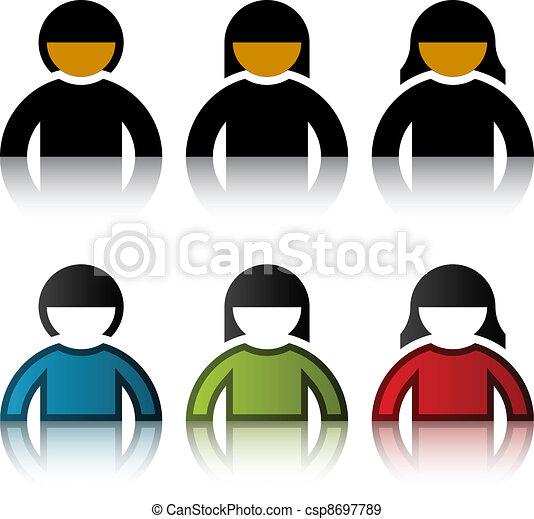 simboli, vettore, maschio, utente, femmina - csp8697789