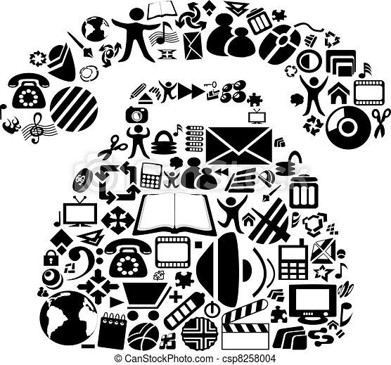 simboli, vettore, telefono - csp8258004