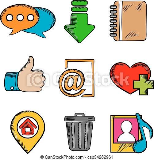 simboli, web, multimedia, icone - csp34282961