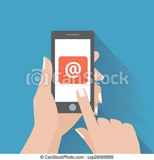 simbolo, email, telefono, mano commovente, schermo, far male - csp26069889