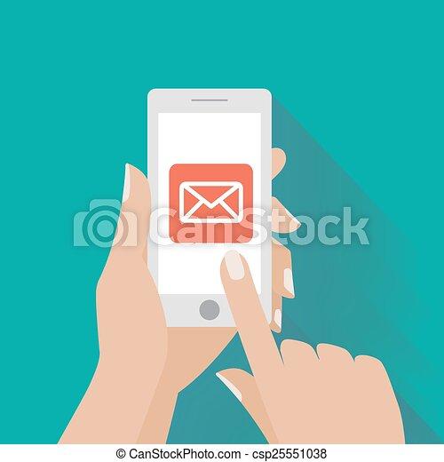 simbolo, email, telefono, mano commovente, schermo, far male - csp25551038