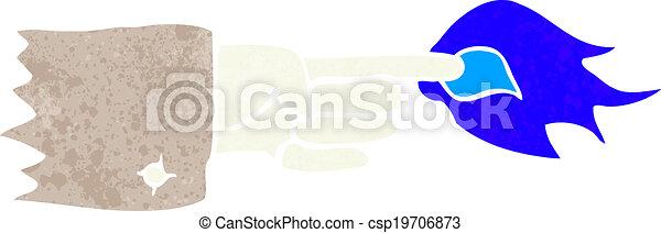 simbolo, fiammeggiante, cartone animato, dito appuntito - csp19706873