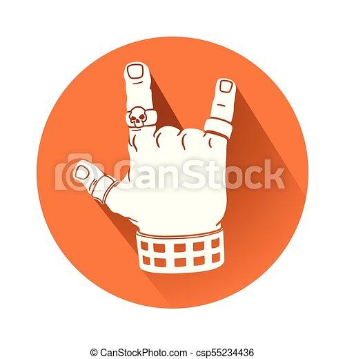 simbolo, gesto mano, roccia - csp55234436