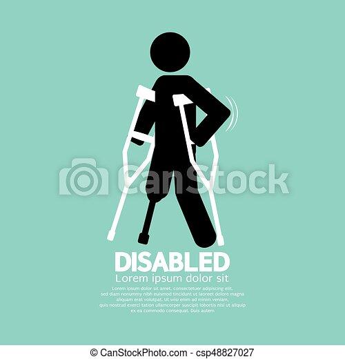 simbolo, illustrazione, stampella, invalido, persona, vettore, nero - csp48827027
