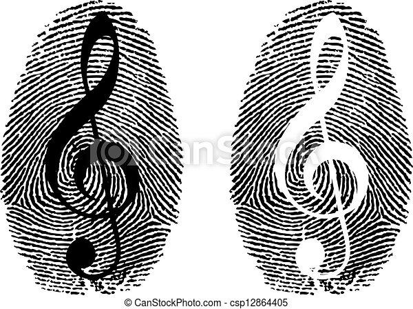 simbolo, musica, impronta digitale - csp12864405