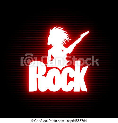 simbolo, neon, roccia - csp64556764