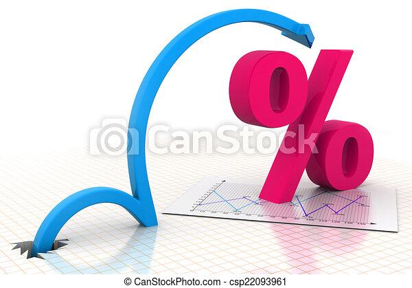 simbolo, spostamento, percentuale, freccia - csp22093961