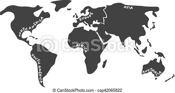 Simlified world map divided to six continents in dark grey world simlified world map divided to six continents in dark grey csp42065822 gumiabroncs Choice Image