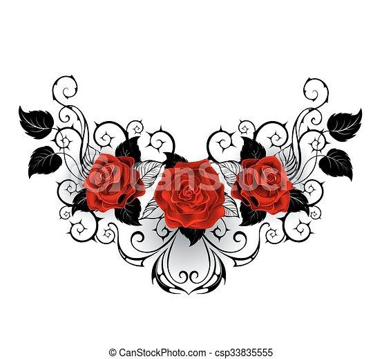 Simmetrico Tatuaggio Rose Rosse Caccie Rose Modello Foglie