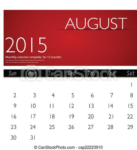 simple 2015 calendar august vector illustration
