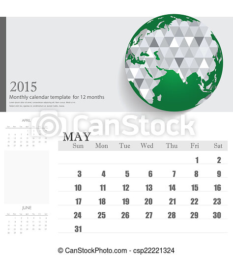 simple 2015 calendar may vector illustration