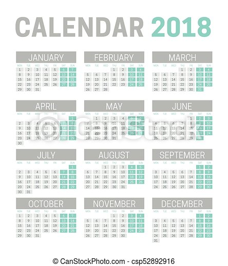 Simple 2018 Calendar Template On White Background Week Vector