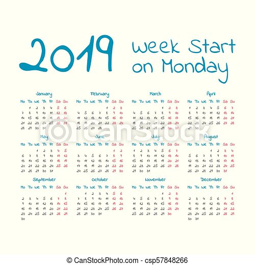 simple 2019 year calendar csp57848266