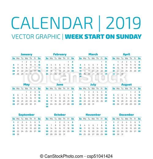 Calendario 2019 Con Numero Week.Simple 2019 Year Calendar