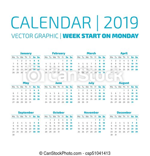 simple 2019 year calendar csp51041413
