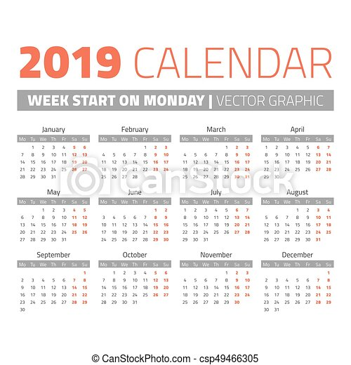 simple 2019 year calendar csp49466305