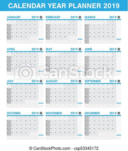 simple 2019 year planner calendar set of all month csp53345172