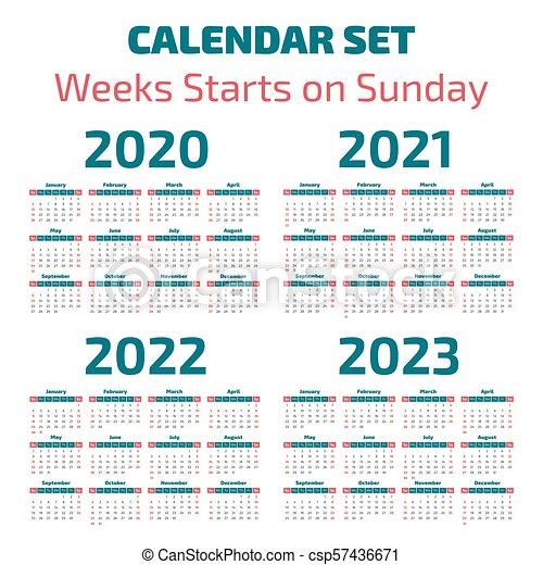 Calendario 2020 Editable Illustrator.Simple 2020 2023 Years Calendar