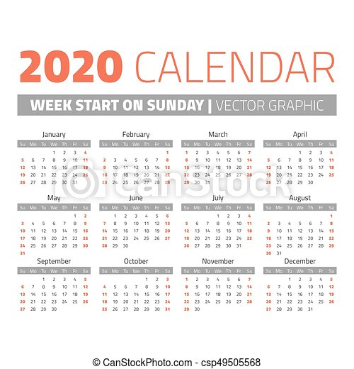 Calendario 2020 Con Week.Simple 2020 Year Calendar