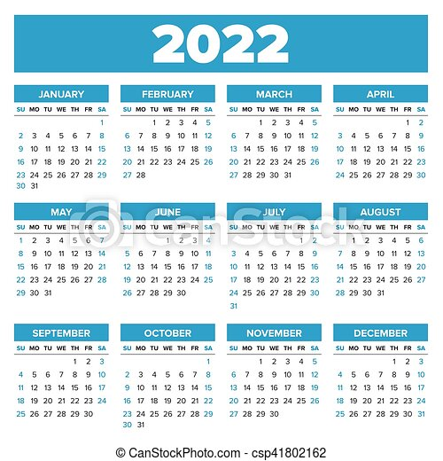 Simple 2022 Year Calendar Week Starts On Sunday