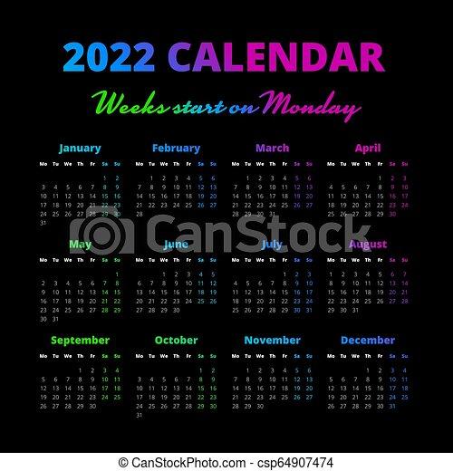 Simple 2022 year calendar, weeks start on monday. Simple ...