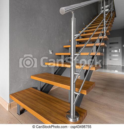 Escalier Simple simple, acier, escalier, balustrade. acier, escalier, simple, gris