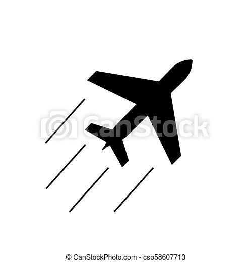 Simple Airplane Icon Aeroplane Silhouette Sign Illustration