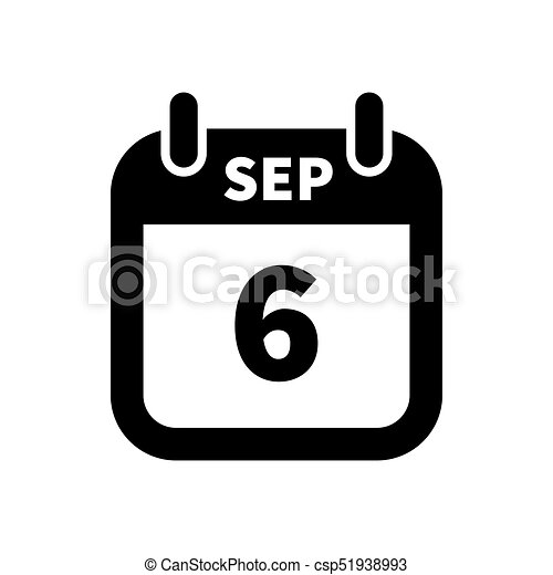 Calendario Dibujo Blanco Y Negro.Simple Aislado Septiembre Negro 6 Fecha Calendario Blanco Icono