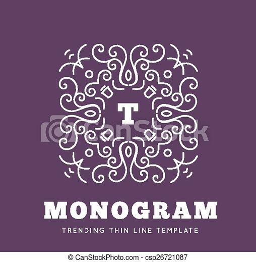 Simple and graceful monogram design template - csp26721087