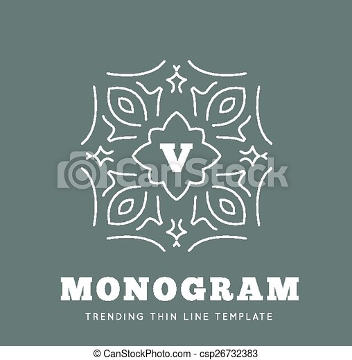 Simple and graceful monogram design template - csp26732383