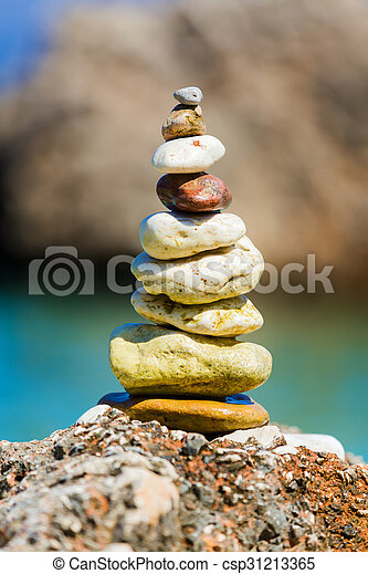 Simple Art On The Beach A Pile Of A Well Balanced Rocks On The
