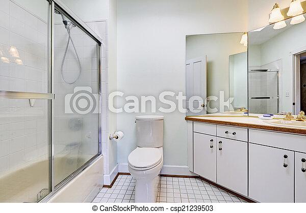 Simple bathroom interior with glass door shower - csp21239503