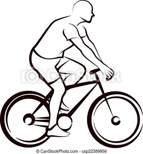 simple, bicycler, illustration - csp22389956
