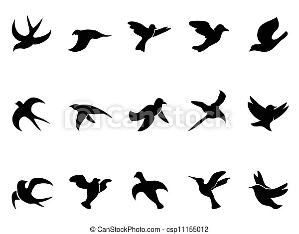 Isolated Simple Bird S Flying Silhouettes From White Background
