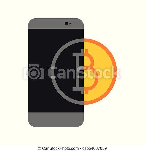 Simple Bitcoin Mobile Transfer Vector Illustration Graphic - csp54007059