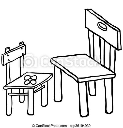 Simple black and white chairs cartoon vectors Search Clip Art