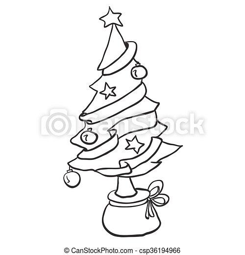 simple black and white christmas tree cartoon https www canstockphoto com simple black and white christmas tree 36194966 html