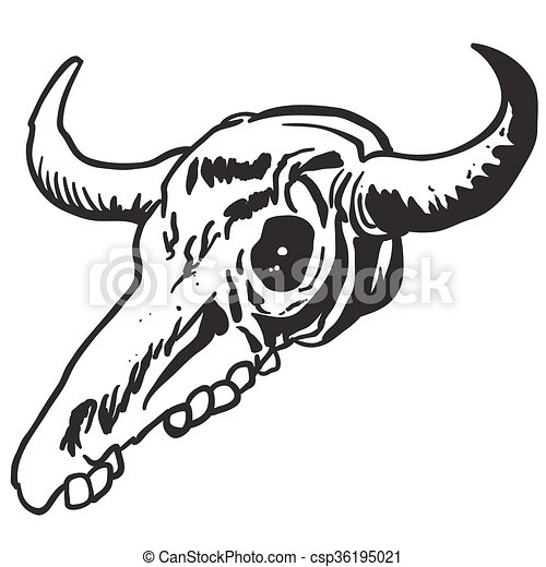 simple black and white cow skull cartoon vector illustration rh canstockphoto com floral cow skull clipart cow skull head clip art