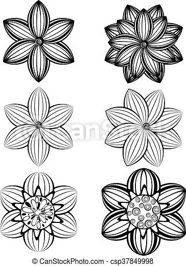 Simple black and white flowers set of different stylistic flowers simple black and white flowers csp37849998 mightylinksfo