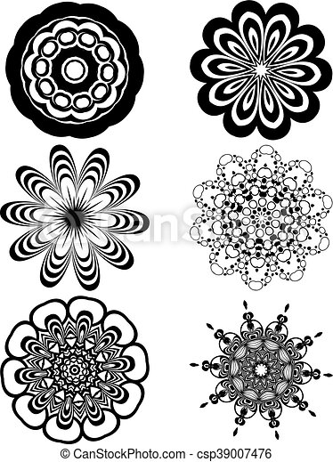 Simple black and white flowers set of different stylistic flowers simple black and white flowers csp39007476 mightylinksfo